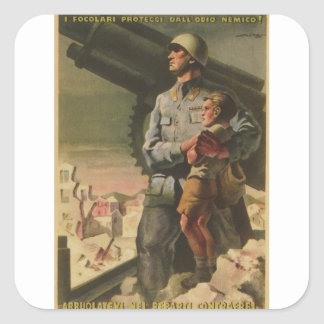 Enlisted Propaganda Poster Square Sticker