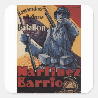 Enlistment (1937)_Propaganda Poster Square Sticker