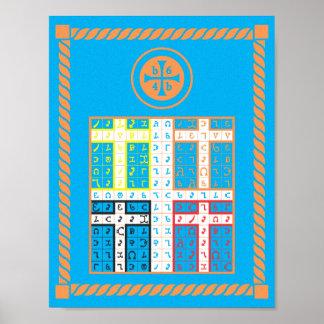 Enochian Water Elemental Tablet on Canvas Poster