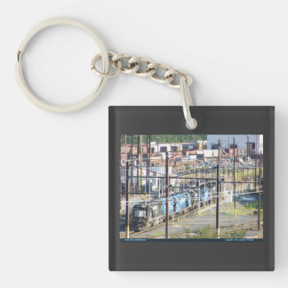 Enola Norfolk Southern Railroad Yard Harrisburg PA Double-Sided Square Acrylic Key Ring