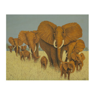 Enormous but caring wood wall art