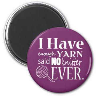 Enough Yarn Knitter Custom Color Dark 2 Inch Round Magnet