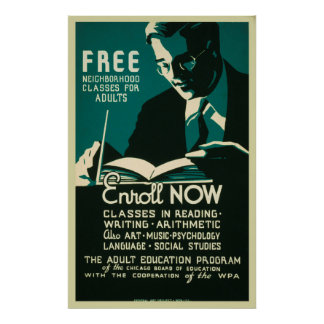 Enroll Now Free Classes Adult Education Poster