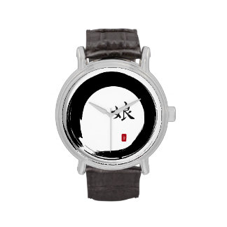 Enso Circle and Kanji Calligraphy for Daughter Wristwatch