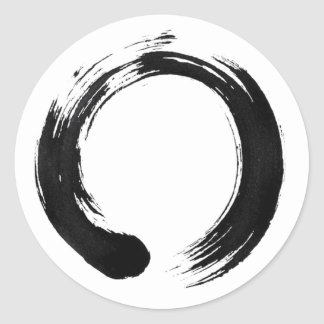 Enso Circle Classic Round Sticker, Glossy Classic Round Sticker
