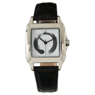 Enso Circle Custom Perfect Square Black Leather Wrist Watches