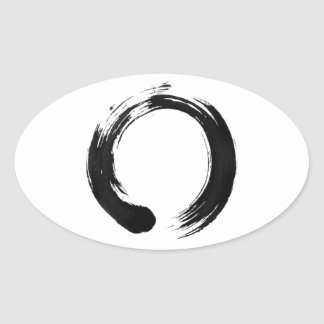 Enso Circle Oval Stickers, Glossy Oval Sticker