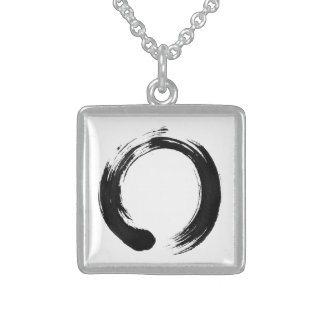 Enso Circle Small Sterling Silver Square Necklace