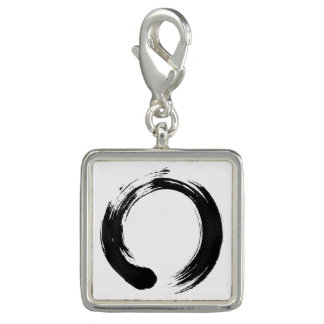 Enso Circle Square Charm, Silver Plated