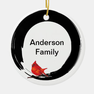 Enso Circle with Red Cardinal Christmas Ornament