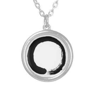 Enso Circle Zen Calligraphy Silver Plated Necklace
