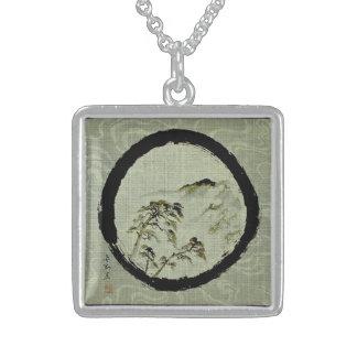 Enso Landscape Sterling Silver Necklace, Sterling Silver Necklace