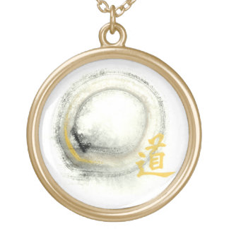 Enso, Way in Gold Round Pendant Necklace