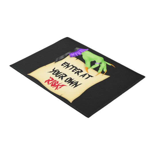 Enter at your own risk witches hand doodr mat