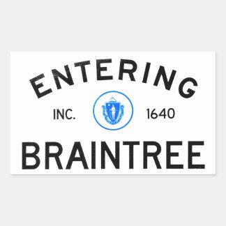 Entering Braintree Rectangle Stickers