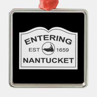 Entering Nantucket Est. 1659 Sign in Black & White Christmas Ornament