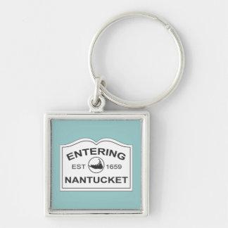 Entering Nantucket Keepsake Sign White & Teal Key Ring