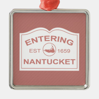 Entering Nantucket Welcome Sign in Nantucket Red Christmas Ornament