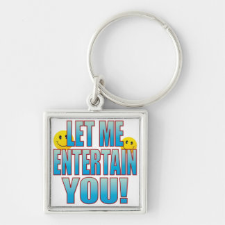 Entertain You Life B Silver-Colored Square Key Ring