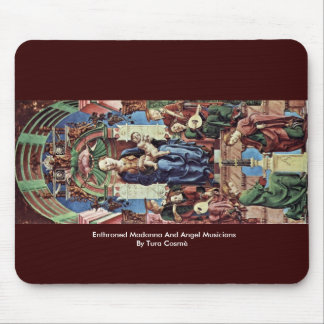 Enthroned Madonna And Angel Musicians Mouse Pads