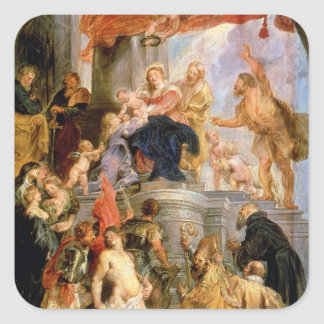 Enthroned Madonna with Child Square Sticker