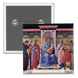 Enthroned Virgin And Child With Saints 15 Cm Square Badge
