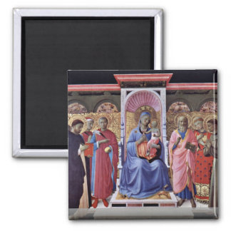 Enthroned Virgin And Child With Saints Square Magnet