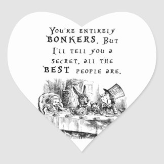 entirely bonkers A4 Heart Sticker