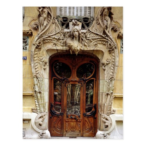 Entrance door to the apartments post card