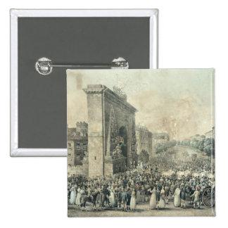 Entrance of Louis XVIII  through Porte 15 Cm Square Badge