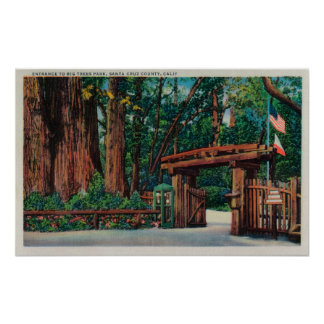 Entrance to Big Trees Park, Santa Cruz County Poster