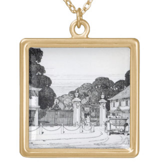 Entrance to Brooklandwood, Baltimore, USA, from Th Gold Plated Necklace