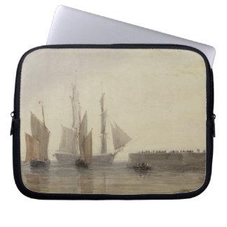 Entrance to Calais Harbour, 1829 (w/c, pen & ink, Laptop Sleeve