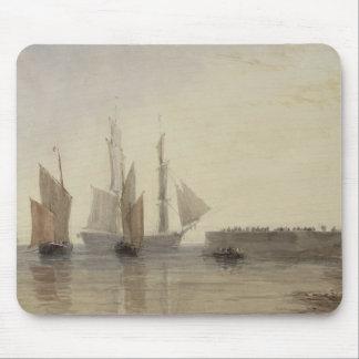 Entrance to Calais Harbour, 1829 (w/c, pen & ink, Mouse Mat