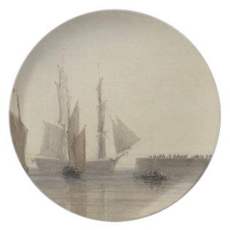 Entrance to Calais Harbour, 1829 (w/c, pen & ink, Plate