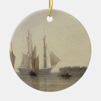 Entrance to Calais Harbour, 1829 (w/c, pen & ink, Round Ceramic Decoration