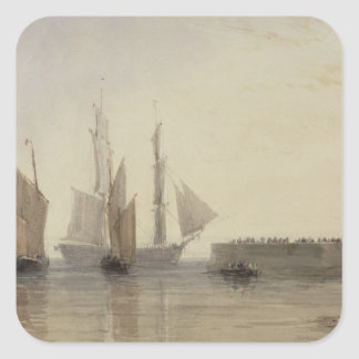 Entrance to Calais Harbour, 1829 (w/c, pen & ink, Square Sticker
