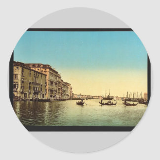 Entrance to Grand Canal Venice Italy vintage Pho Round Sticker