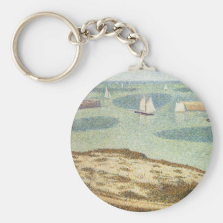 Entrance to Harbor by Georges Seurat, Vintage Art Key Ring