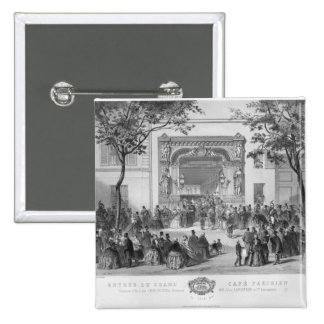 Entrance to the 'Grand Cafe Parisien', Paris 15 Cm Square Badge