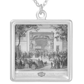 Entrance to the 'Grand Cafe Parisien', Paris Silver Plated Necklace