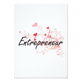 Entrepreneur Artistic Job Design with Hearts 13 Cm X 18 Cm Invitation Card