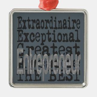 Entrepreneur Extraordinaire Silver-Colored Square Decoration