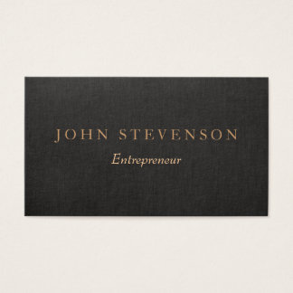 Entrepreneur Professional Black Linen Look Vintage Business Card