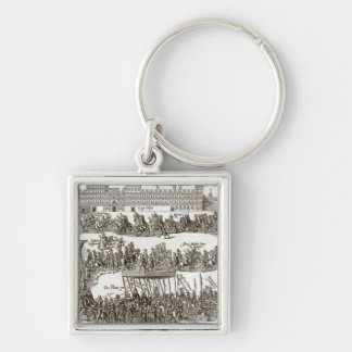 Entry of Prince Charles I into Madrid, 1623 Silver-Colored Square Key Ring