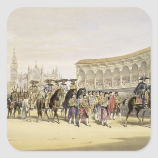 Entry of the Toreros in Procession, 1865 (colour l Square Sticker