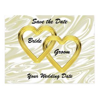 Entwined Gold Hearts Bride and Groom Postcards