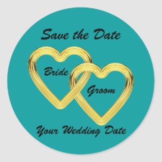 Entwined Gold Hearts Bride and Groom Round Sticker
