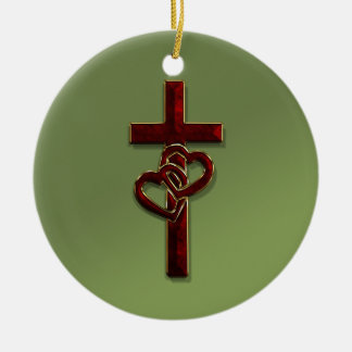 Entwined Hearts Cross Christmas Ornament