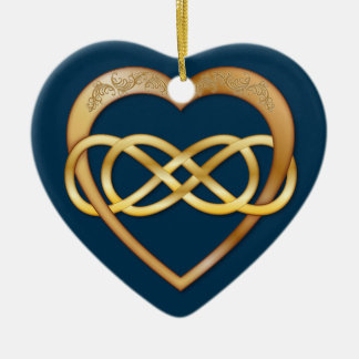 Entwined Hearts Double Infinity - Gold on Blue Christmas Ornament